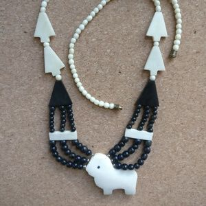wooden animal necklace